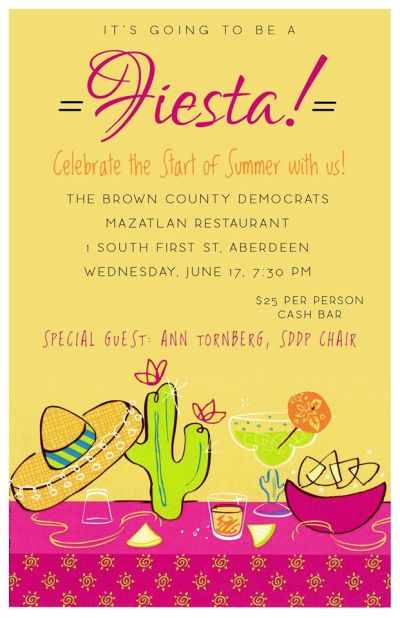 Brown County Democrats Fiesta, Mazatlan Mexican Restaurant, Aberdeen, South Dakota, June 17, 2015, 7:30 p.m.