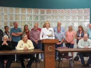 Rep. Lynne DiSanto (R-35/Rapid City) speaks at a press conference opposing the school opt-out vote, 2015.06.01. Photo by Smarter Solutions for Students, Facebook post, 2015.06.01.