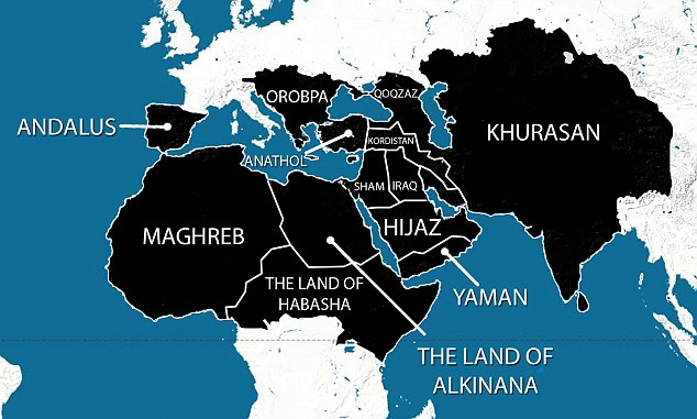 "Map attributed to Islamic State by Frances Martel, ""ISIS Releases Map of 5-Year Plan to Spread from Spain to China,"" Breitbart.com, 2014.07.01"