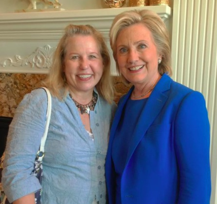 SDDP chair Ann Tornberg with Hillary Clinton, Sioux City, Iowa, 2015.06.13—photo submitted by reader.