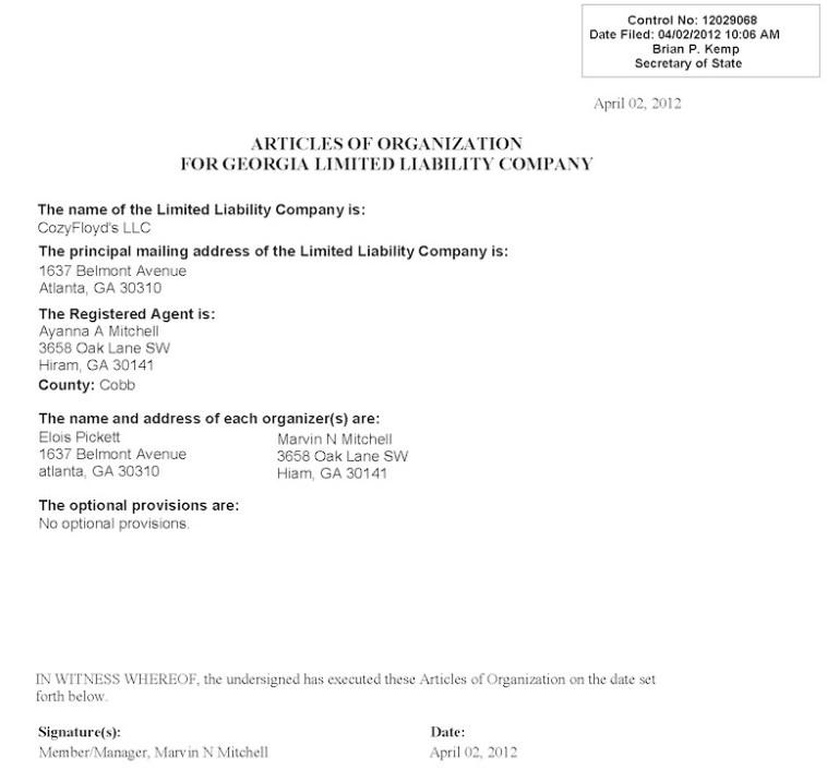 Cozyfloyd's LLC articles of organization, filed 2012.04.02.