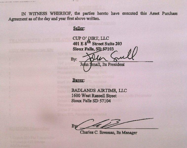 Signatures on Small–Brennan APA, 20150225.