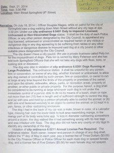 Officer Douglas Magee, statement, 2014.10.06, p. 1.