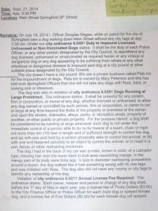 Officer Douglas Magee, statement, 2014.10.06, p. 1.