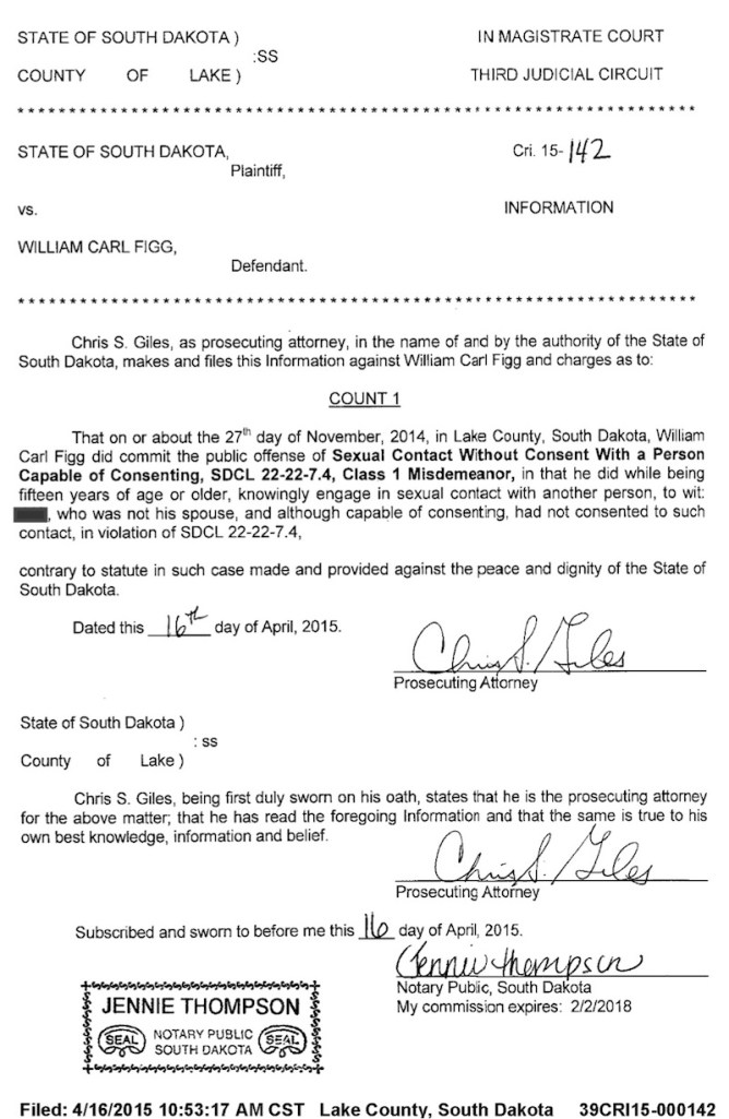 Charge against William C. Figg, 2015.04.16