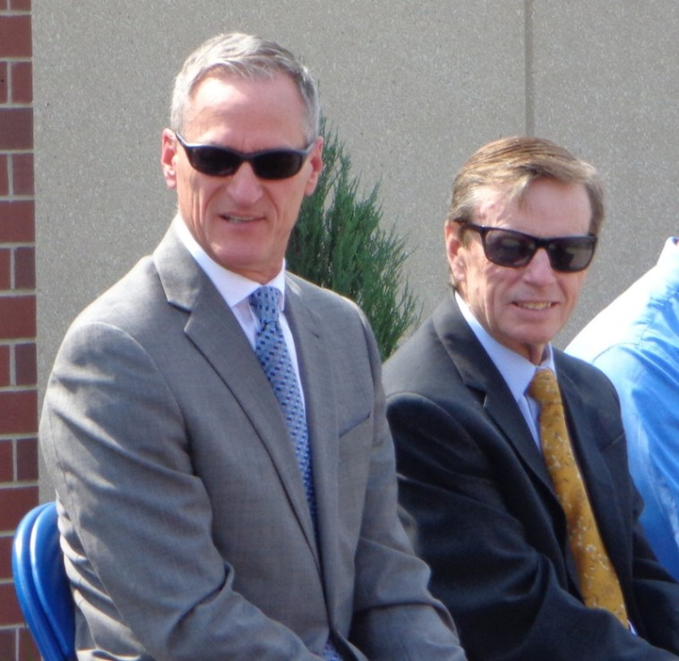 85 degrees, high noon sun, but Governor Daugaard and Mayor Levsen remain totally cool.