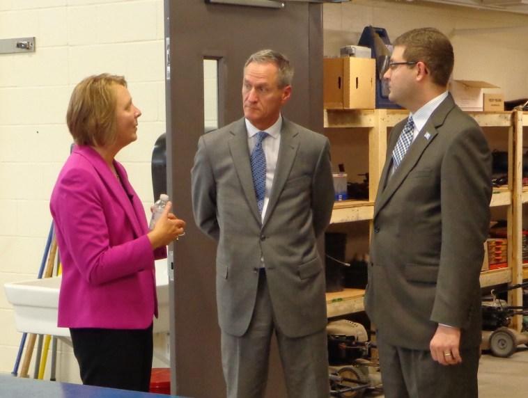 Supt. Becky Guffin, Governor Dennis Daugaard, chief of staff Tony Venhuizen