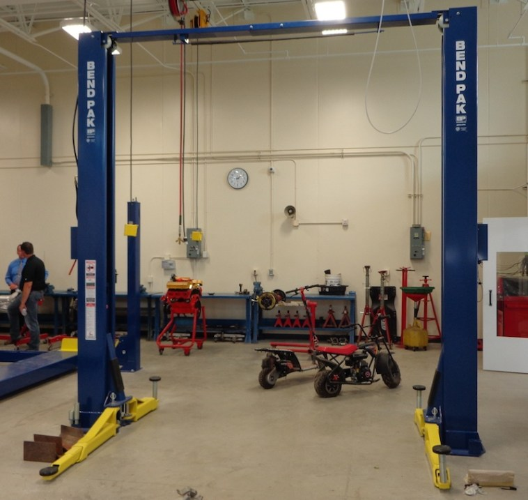 Bend Pak hoist in auto shop, A-TEC Academy, Aberdeen, South Dakota