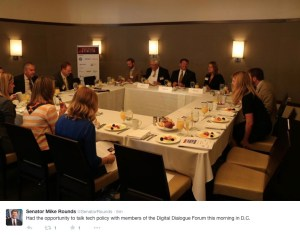 Fruit at the table: Senator Mike Rounds wonders what everyone else is talking about at the Digital Dialogue Forum, Washington, D.C., 2015.09.15. Photo tweeted by Rounds staff.