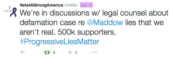 V4SA tweet v Maddow