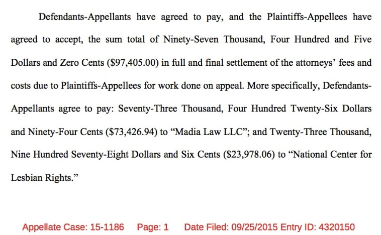 South Dakota's agreement to pay lawyer fees for appeals court work in Rosenbrahn v. Daugaard, U.S. Eighth Circuit, 2015.09.25.