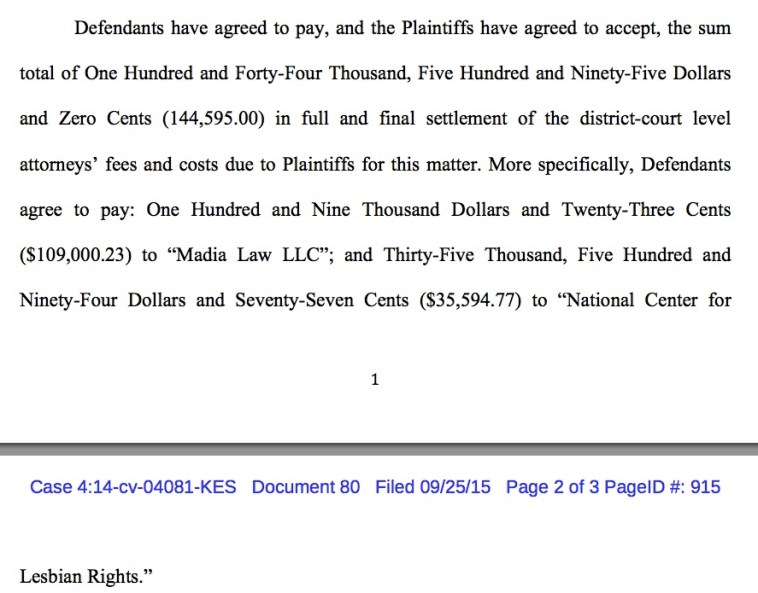 South Dakota's agreement to pay lawyer fees for district court work in Rosenbrahn v. Daugaard, U.S. District Court of South Dakota,, 2015.09.25.