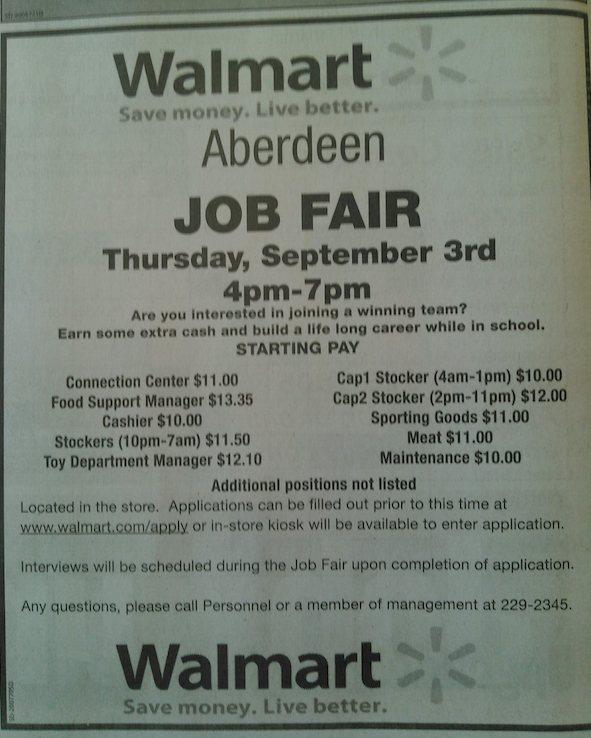 Walmart hiring ad, Aberdeen American News, 2015.09.01, p. 2D.