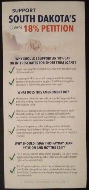 "petition pamphlet from Lisa Furlong's ""South Dakotans for Fair Lending"", promoting fake 18% rate cap."