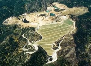 Aerial view of Gilt Edge Mine Superfund site, northern Black Hills, South Dakota. Photo from EPA.