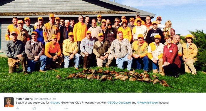 South Dakota Governor's Club Pheasant Hunt, photo by Pam Roberts, SDGOP chair, posted to Twitter 2015.10.26.