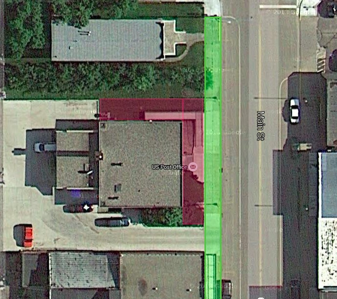 Webster Post Office, aerial view, Google Maps, annotated by CAH.