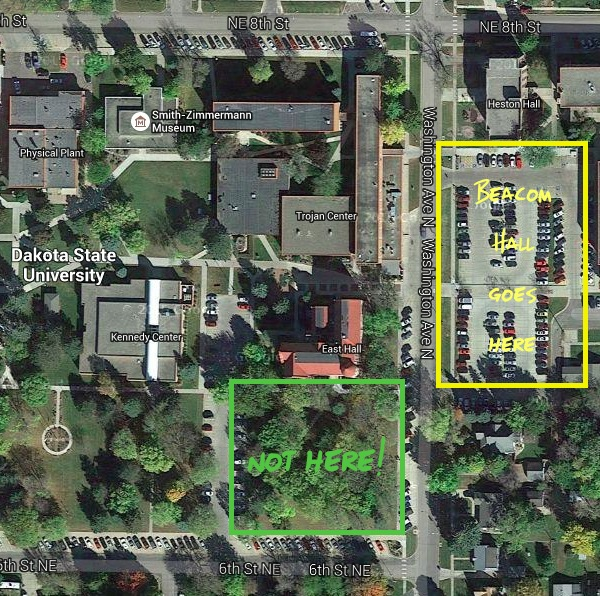 New proposed site of Beacom Hall. Satellite view from Google Maps.