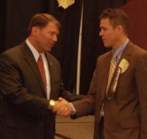 Governor Mike Rounds and Bureau of Indian Education director Keith Moore, honored at SD Indian Education Summit, Oct 2010. Photo by Lakota Country Times.