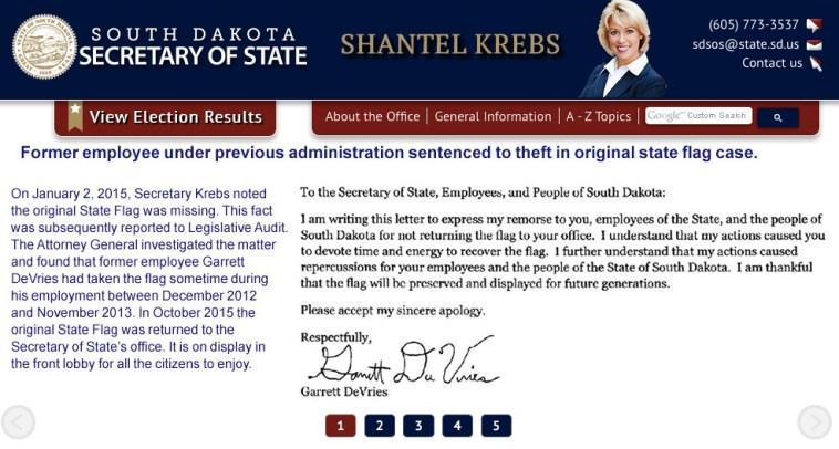 Garrett Darwin DeVries, apology to citizens of South Dakota, posted to Secretary of State's website, 2015.11.25.
