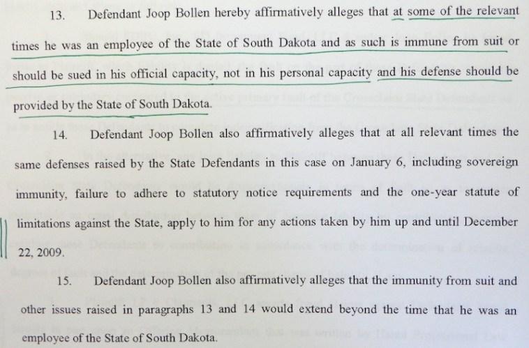 Joop Bollen, Answer and Counterclaim, LP6 Claimants v. South Dakota DTSD et al., Case #32CIV15-000312, filed 2016.01.08, p. 3.