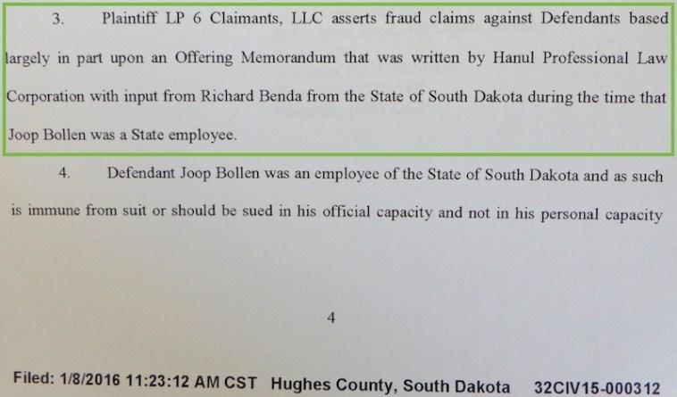 Joop Bollen, Answer and Counterclaim, LP6 Claimants v. South Dakota DTSD et al., Case #32CIV15-000312, filed 2016.01.08, p. 4.