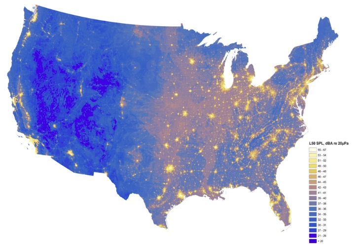 Map of noise levels, National Park Service