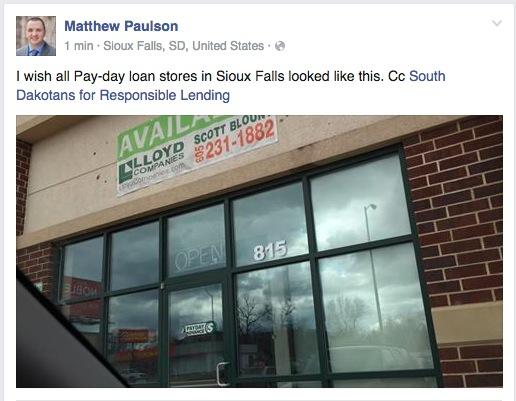 Matthew Paulson, Facebook, Sioux Falls, SD, 2016.03.31