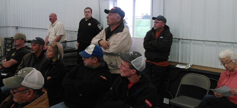 Spink County resident and former Governor Harvey Wollman speaks to his neighbors and Deep Borehole Field Test officials. Photo by CAH, Redfield, SD, 2016.04.28.