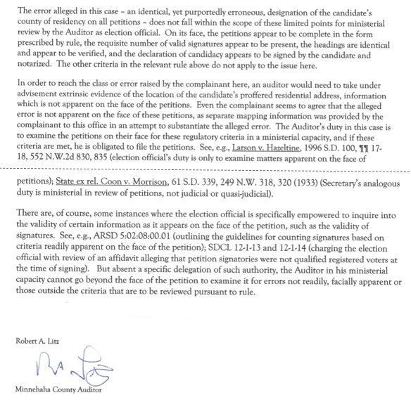 Minnehaha County Auditor Bob Litz, letter, 2016.04.04.