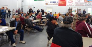 Over 120 interested citizens listen to a presentation from Battelle and the US Energy Dept. on the Deep Borehole Field Test in Redfield, SD, 2016.04.28.