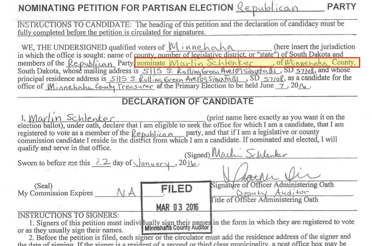 Marlin Schlenker, petition header, taken out January 22, 2016, filed March 3, 2016.