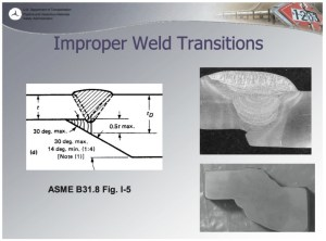 Improper pipeline weld transition connecting thinner pipe to thicker pipe. From Kenneth Lee, DOT-PHMSA presentation, NAPCA workshop, Houston, TX, 2010.08.19.