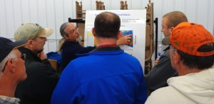 Professor Larry Stetler explains South Dakota geology to interested citizens at the Deep Borehole Field Test informational meeting in Redfield, South Dakota, April 28, 2016.