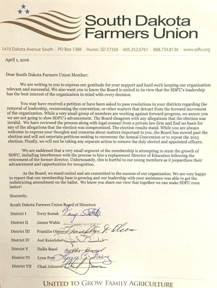 South Dakota Farmers Union, open letter, 2016.04.01.