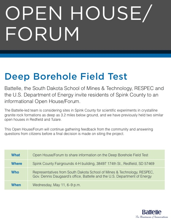 Deep Borehole Field Test public meeting, Spink County Fairgrounds 4-H building, Redfield, SD, May 11 6-9 p.m.