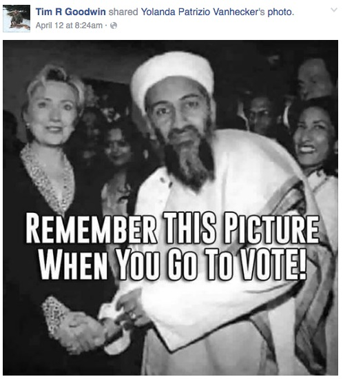 Tim R. Goodwin, Republican candidate for Dist. 30 House, FB post of fake Hillary-Osama photo, 2016.04.12.