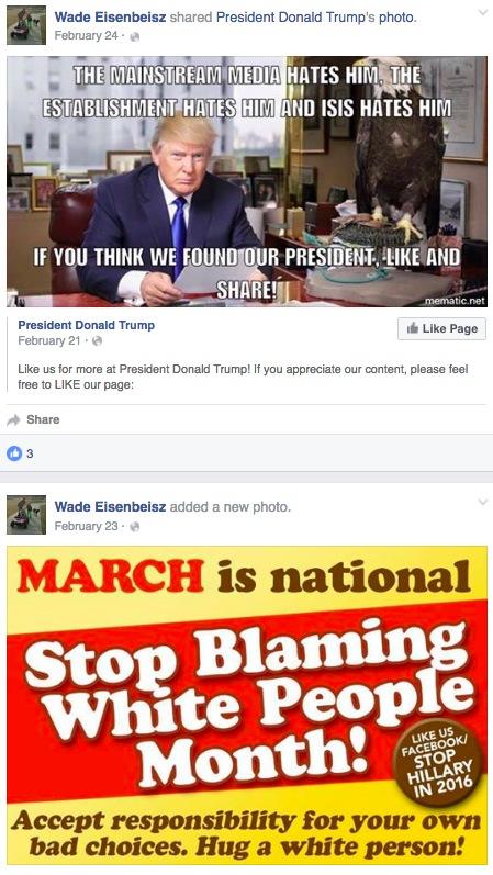 Wade Eisenbeisz, Facebook posts, Feb 23-24, 2016, screen cap 2016.06.03.
