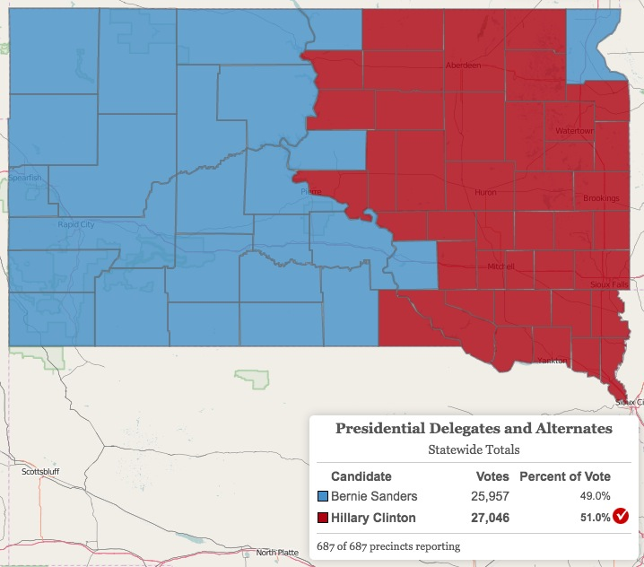 Sanders vs Clinton by county, South Dakota Democratic Primary, 2016.06.07. Map from SD Secretary of State, downloaded 2016.06.12.