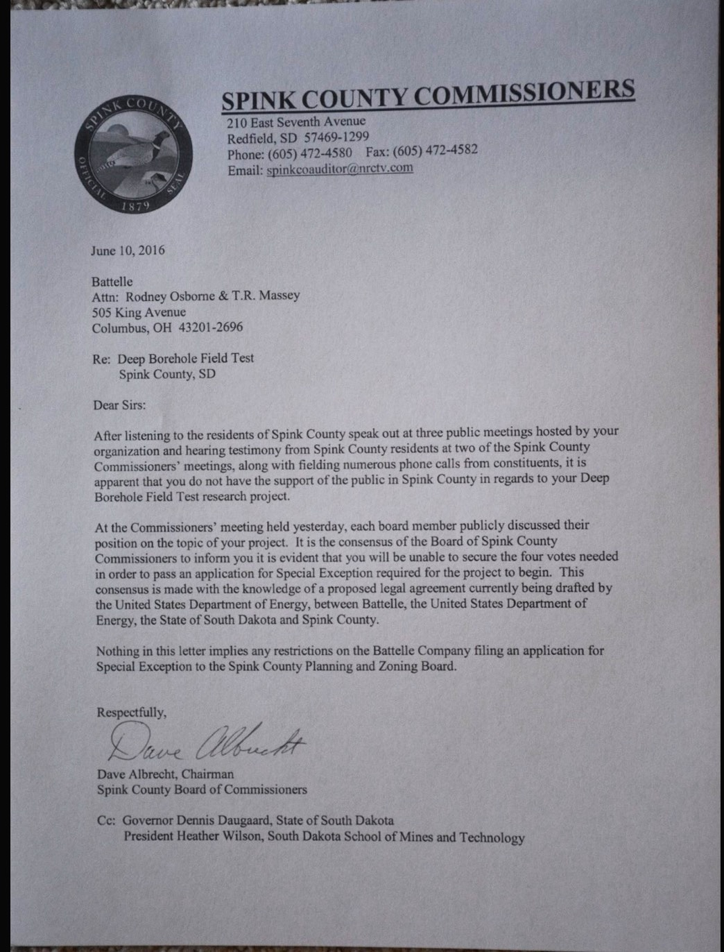 South dakota spink county doland - Dave Albrecht Spink County Commission Chairman Letter To Battelle 2016 06 10