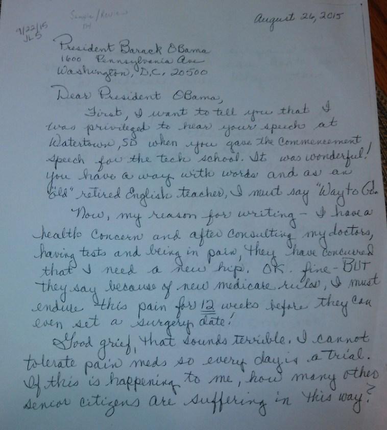 Betty Beyer, letter to President Barack Obama, 2015.08.26, p. 1.