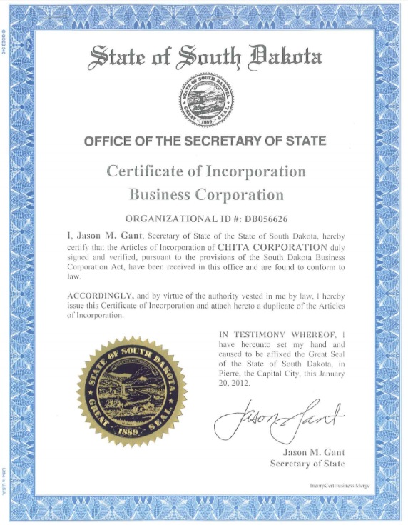 Chita Corporation, Articles of Incorporation, signed by Secretary of State Jason Gant, January 20, 2012.