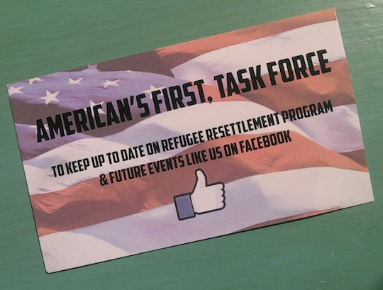 American's First, Task Force card, distributed at Aberdeen Ramkota, 2016.08.11.