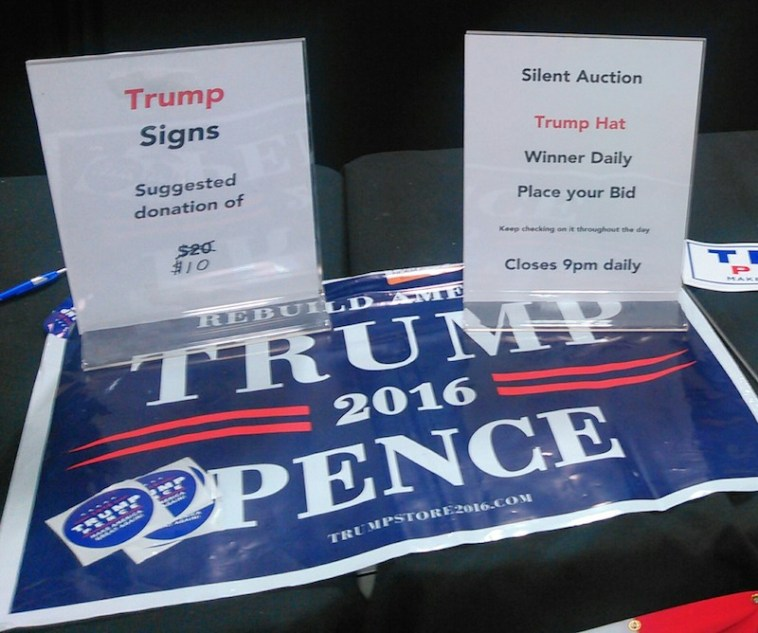 Trump-Pence sign already discounted, Brown County Fair, 2016.08.18.