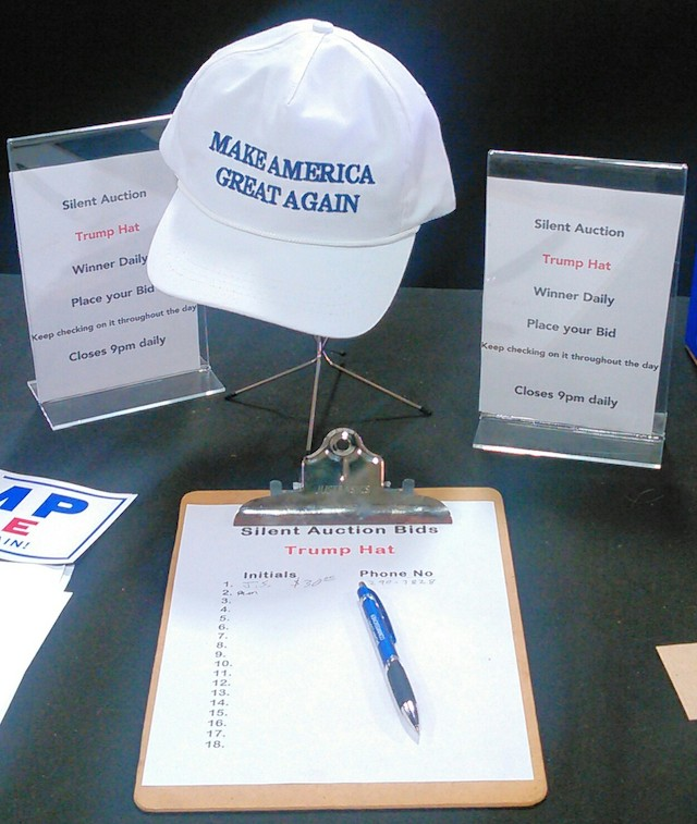 Trump cap silent auction, Brown County Fair, 2016.08.18.