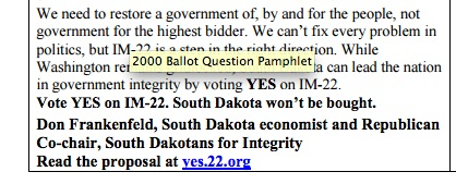 Excerpt, Pro statement for IM 22, 2016 Ballot Question Pamphlet, issued August 2016.
