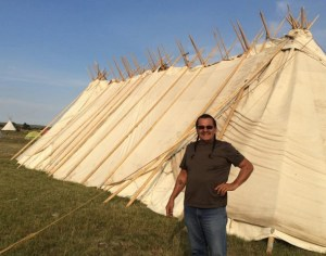 Henry Red Cloud at Dakota Access pipeline protest camp, photo from Facebook, 2016.09.07.