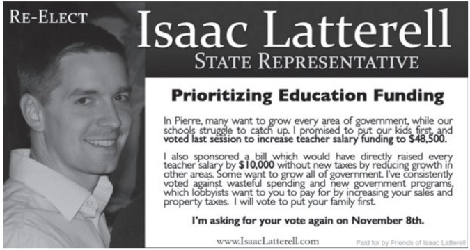 Rep. Isaac Latterell, campaign ad, Lennox Independent, 2016.10.06, p. 7.