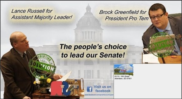 Prairie Country PAC mailer for Russell and Greenfield, posted by Sen.-Elect Stace Nelson, Twitter, 2016.11.10.
