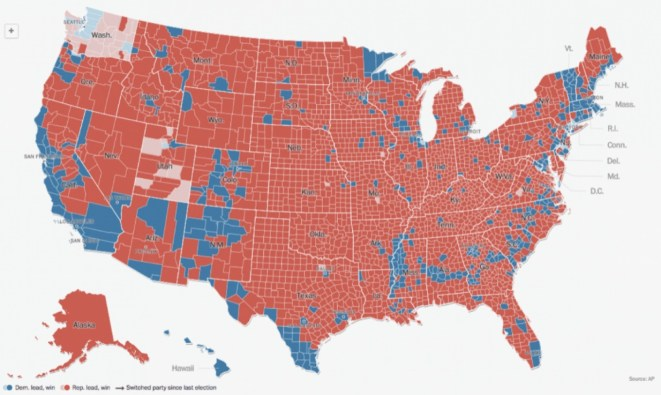 2016 Presidential vote by county: blue for Clinton, red for Trump.